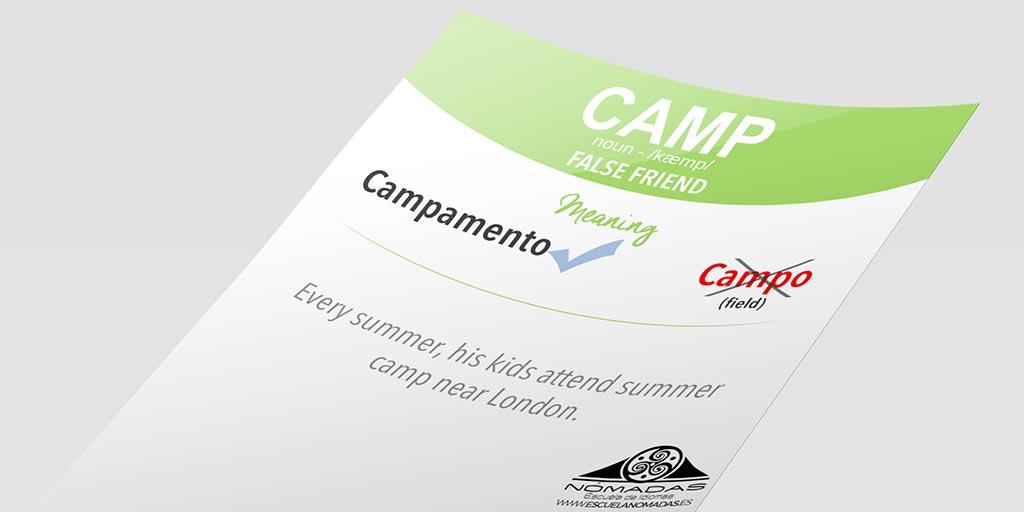 English FALSE FRIEND ingles - CAMP - Escuela de idiomas Nomadas Alcazar de San Juan - flashcard