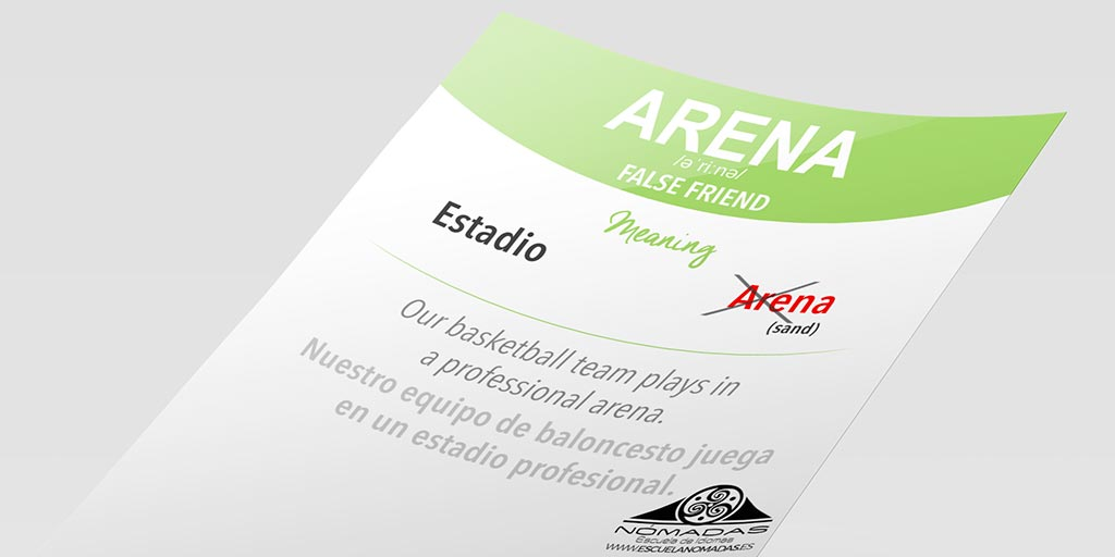 Arena false friend inglés - English vocabulary - Aprende inglés con Nómadas Escuela de Idiomas Alcázar de San Juan