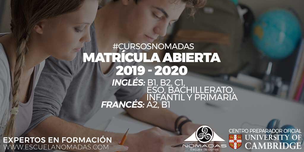 Mátricula Abierta - Nomadas Idiomas Alcazar de San Juan - Inglés - Francés